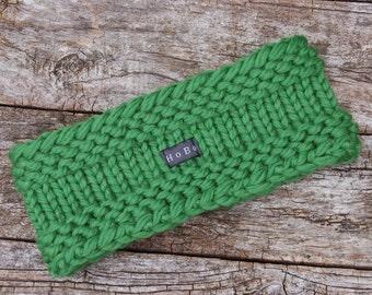 Pine Green Merino Wool Headband/Ear Warmer. Thick and chunky Hand Knit Head/Neck Warmer by HoBo Handmade. Gift for Men/Women S/M/L/XL Unisex