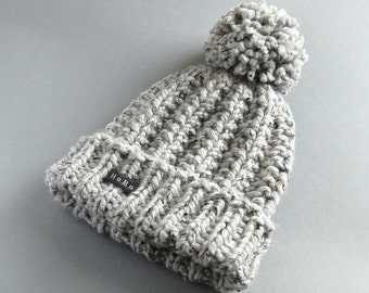 c696cc1981343a Mans Bobble Hat. Available in 9 Colours. HoBo Handmade Winter Hat Thick  chunky hand knit beanie. Large pom pom Grey tweed wool blend 4 Sizes