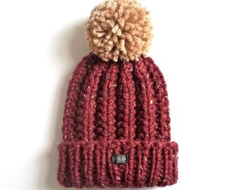 Mens Bobble Hat. Thick chunky burgundy hand knit beanie hat, detachable large pom pom. Handmade Oxblood/dark red tweed wool blend XS to XXL