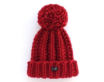 Kids Deep Red Baby/Toddler/Childs Bobble Hat - Boys or Girls HoBo Handmade chunky knit beanie. Hand knitted wool blend choice of pom colours