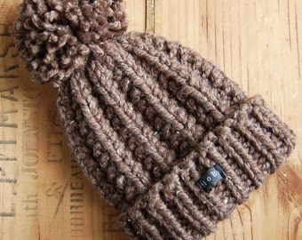 c68cd3319e6f4 Mens Brown Bobble Hat. Thick chunky hand knitted beanie with large  removable pom pom. HoBo Handmade Lofty. Tweed wool blend. Medium/Large/XL