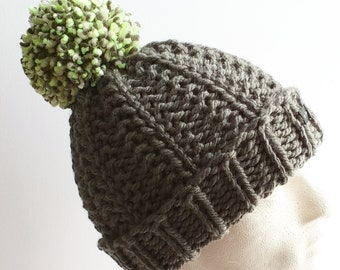 769ad7a802e14 Mens Handmade Bobble Hat. Grey with large neon green removable pom pom.  Thick and chunky beanie hat hand knitted in easy care acrylic yarn