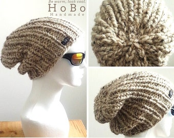 2fa6a80cae2 Mens Slouchy Beanie 9 Colours Available. HoBo Handmade thick chunky hand  knit slouch hat Mens Womens Kids - Small Medium Large Extra Large