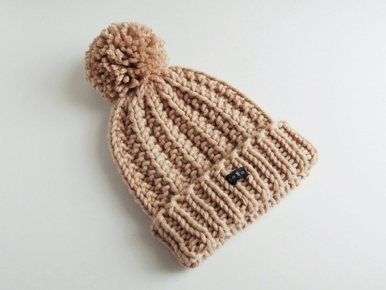 962b294a7 Womens Beige Pom Pom Beanie Hat. Thick chunky hand knit bobble hat with  large detachable pom pom. Camel/light taupe wool blend HoBo Handmade