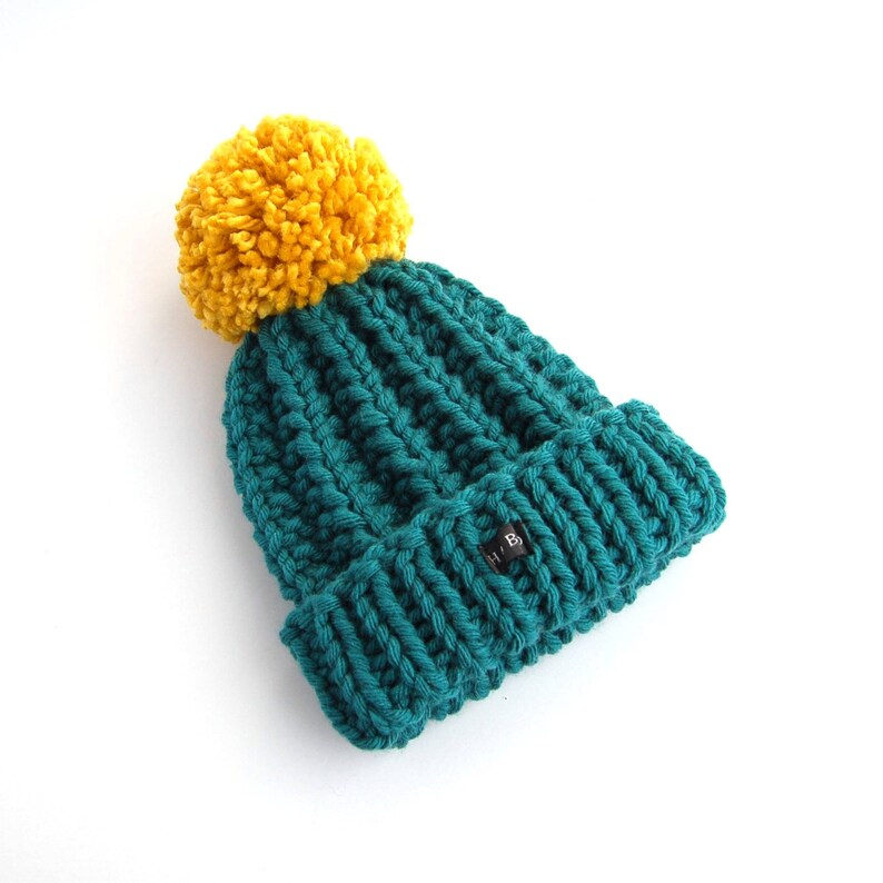 f5831e17bd0 Thick Chunky Knit Teal and Mustard Bobble Hat. Green Blue Pom