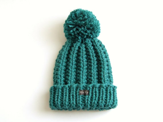 Teal Bobble Hat Green Blue Pom Pom Hat Chunky knit hat Wool  da0bc760355