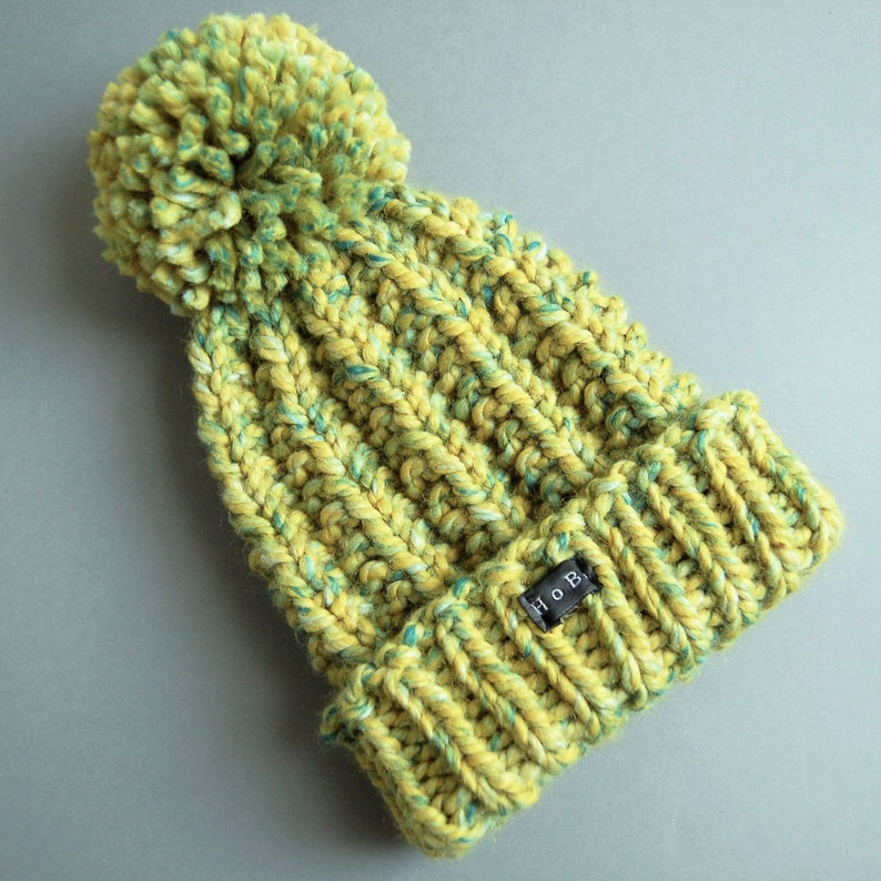 b4df3c74935 Womens Bobble Hat. Chunky hand knit pom pom beanie hat. Thick