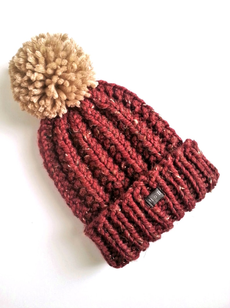 bf391d4a0eecc Mens Bobble Hat. Thick chunky bugundy hand knit beanie hat