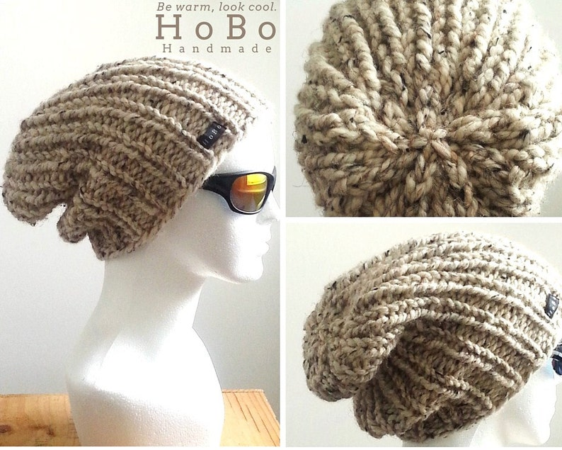 697fb829ae9 Mens Slouchy Beanie 9 Colours Available. HoBo Handmade thick