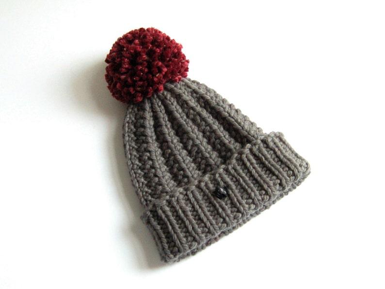 343d19e27 Wool Hat. Dark Grey Merino Wool HoBo Handmade mens bobble hat. Thick chunky  hand knitted beanie. Large dark red pom pom. Womens wool hat