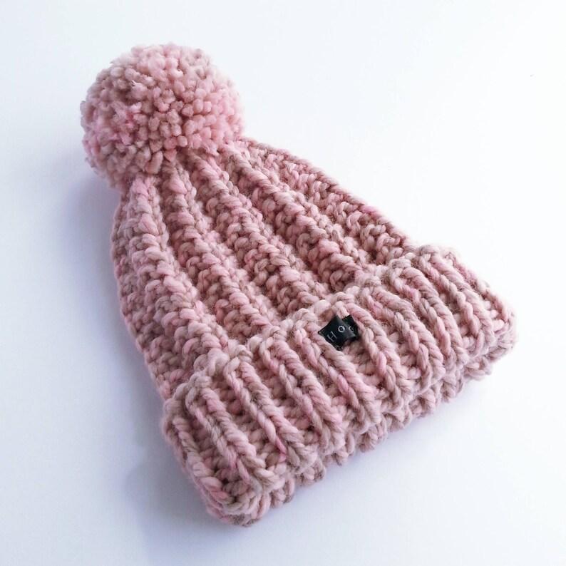 07c12c50c Blush Pink Bobble Hat. Thick chunky womens hand knit pom pom beanie. Wool  and premium acrylic blend. Large detachable pom pom. HoBo Handmade