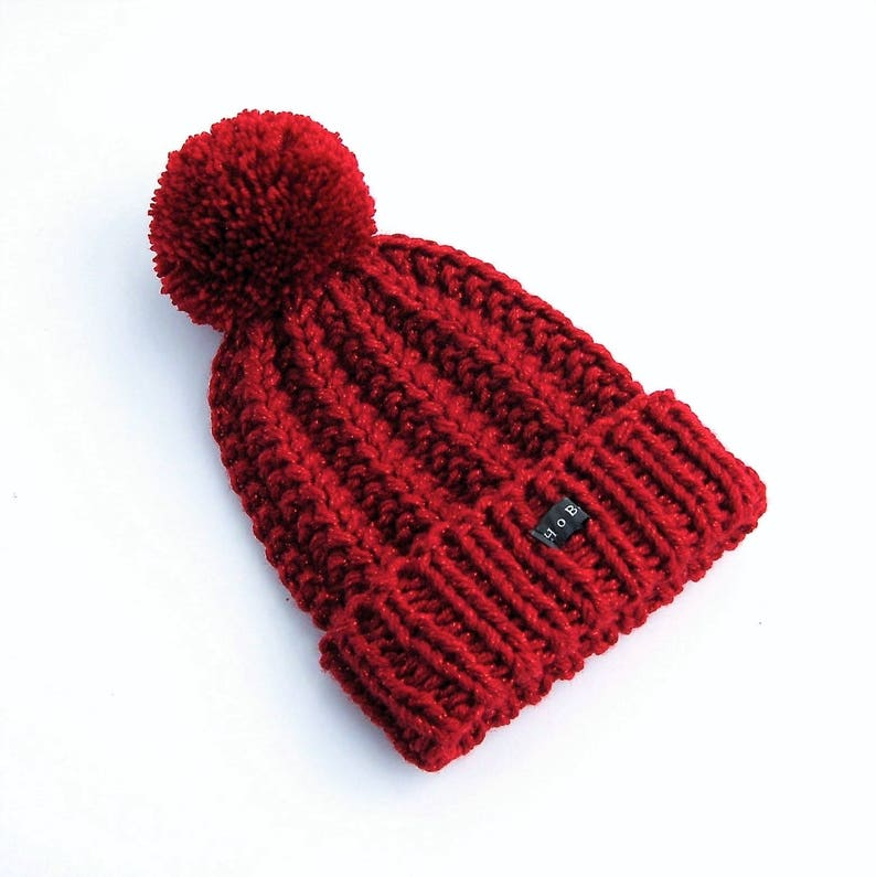 SPARKLY Deep Red Knitted Bobble Hat. Womens/Girls hand ...