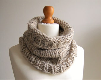 Mens HoBo Handmade Chunky Knit Cowl/Snood Scarf in Tweed Wool Blend Yarn. Hand knitted with no seams. 9 colours available