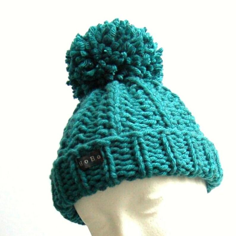 Teal bluegreen toddlers pom pom bobble hat Extra large pom pom HoBo Handmade toddlers chunky knit beanie Wool blend Toddler boysgirls