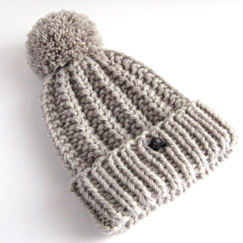 898eca1f68d SPARKLY Silver Grey Bobble Hat Glittery HoBo Handmade thick