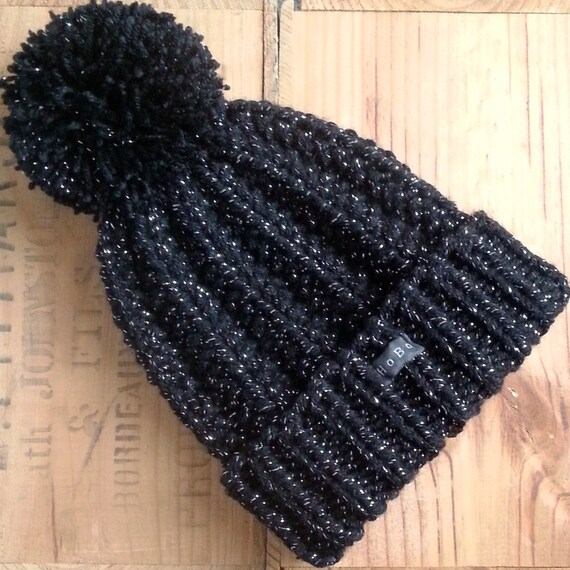 Black and Silver SPARKLY Bobble Hat. Womens handmade sparkle  608e0b1617d
