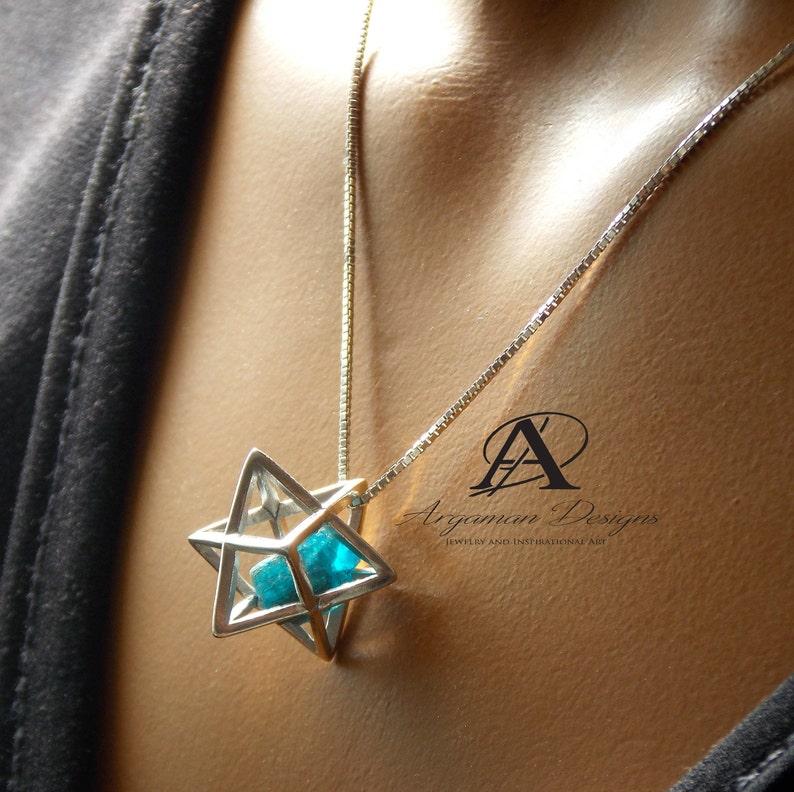Meditation Energy Jewelry Shield of David Yoga Metatron Cube Mtaphysical Sacred Geometry Christmas Gift Silver Merkaba with Apatite