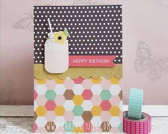 Mason jar happy birthday handmade card