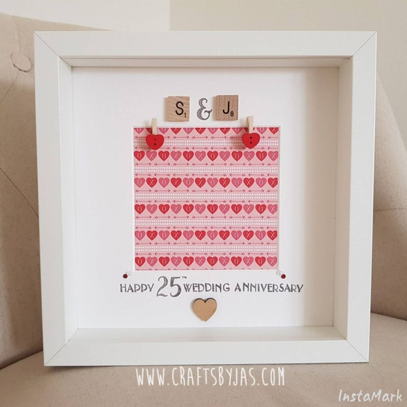1st 5th 25th Wedding Anniversary Scrabble Frame Etsy