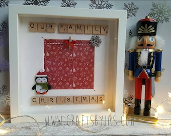 Our family christmas scrabble frame - scrabble art - penguin