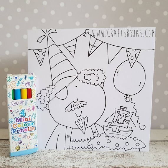 Childrens Colour In Birthday Activity Cards Etsy