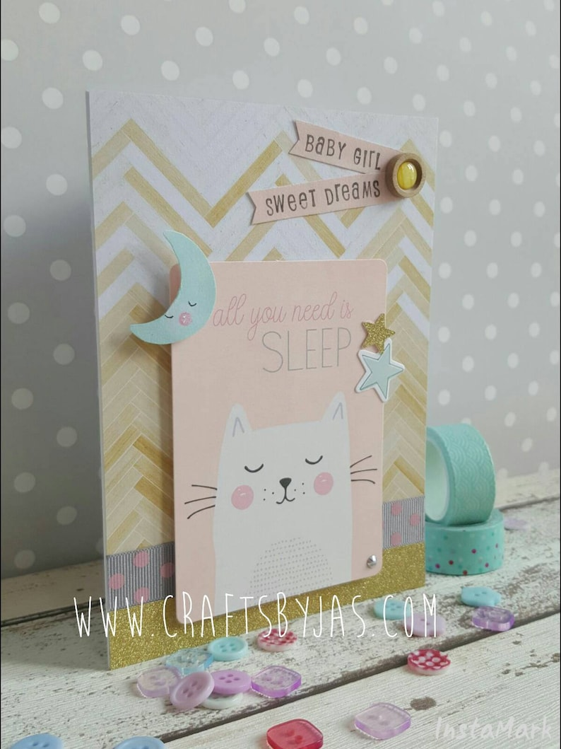 baby arrival baby girl All you need is sleep Handmade New baby card