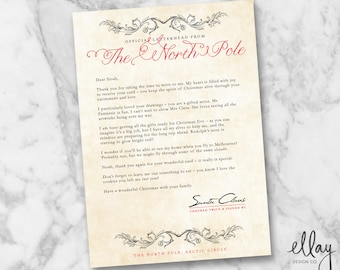 Personalised Letter from Santa, Antique Version, Christmas Gifts for Kids, DIY Printable