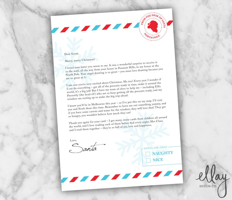 Personalised Letter From Santa Snow Version Christmas Gifts For Kids Diy Printable