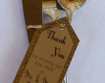 40 Wedding Tags: Thank you for sharing our first meal as Mr. & Mrs.
