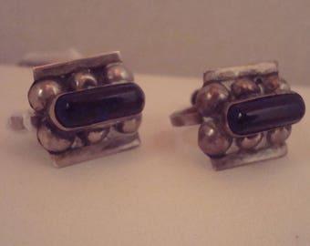 Vintage sterling and purple stone screw back earrings