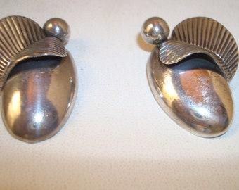 Vintage sterling clip on earrings