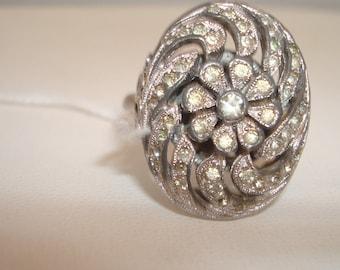 Vintage adjustible rhinestone ring