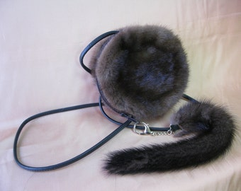 Small Round Fur Purse - Mink & Leather