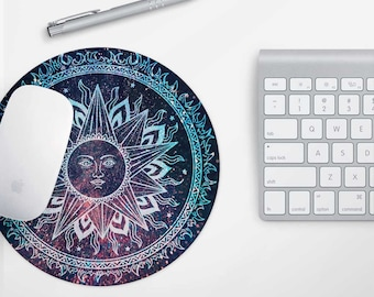 Sun Mandala Pad - Desk Accessories, Pretty Mouse Pad, Round Mouse mat, School Supplies, Tech Gifts, Gift for Her Boho Floral Spiritual