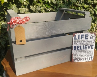 Large Grey Handmade Wooden Crate