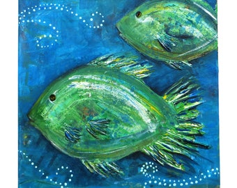 Hand-painted green fish acrylic painting