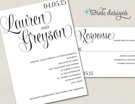 printable wedding invitation diy wedding invitations rsvps etsy