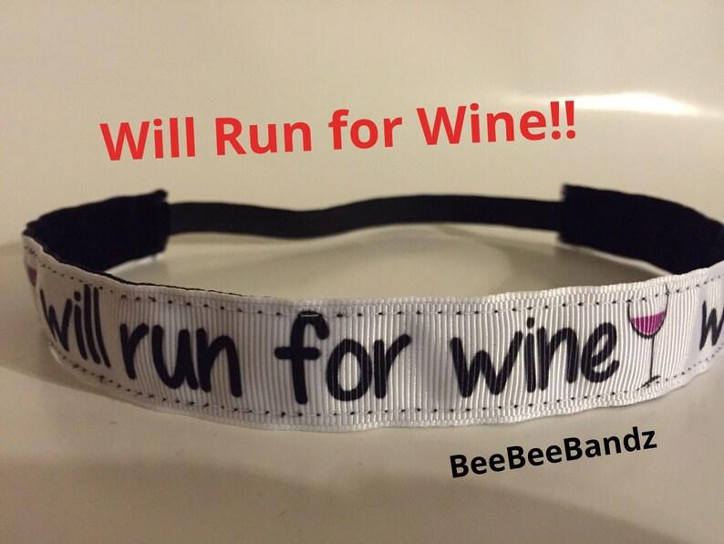 No Slip Headband Will Run for Wine Run Runner image 0