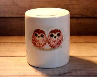 Hand Painted Owlets Money Box