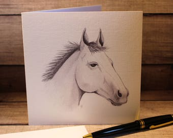Hand Drawn Horses Head Greeting Card