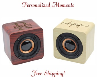Personalized Bluetooth Speaker, Portable bluetooth Speaker, Mini Wood Speaker, Groomsmen Gift, Portable Speaker, Rechargeable