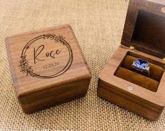 Custom wedding gift idea Decoupage jewelry box EngagementProposal wooden ring holder Personalized ring bearer box violet