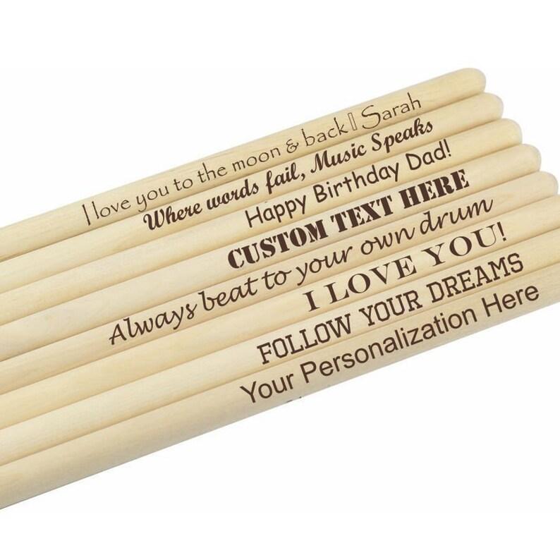 Personalized Drumsticks 1 Pair of Custom Maple Drum sticks image 0