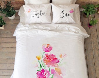 Peony Bedding Pink Bedding Set Romantic Couple Bedding Wedding Gift Cotton  Anniversary Gift Flower Design Duvet Cover Husband Wife Gifts