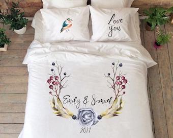 Couple Bedding Set Flower Bedding Flower Design Duvet Cover Etsy