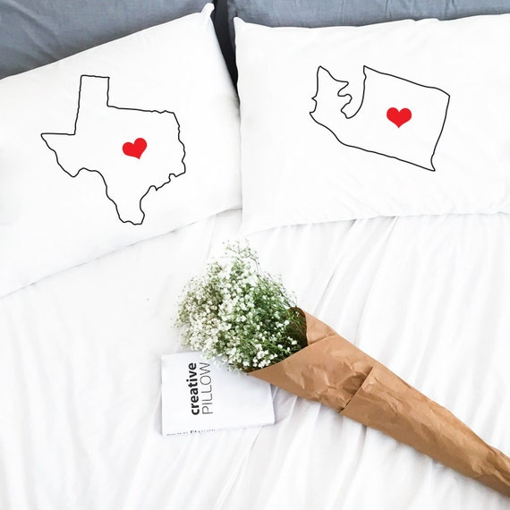Long Distance Relationship Pillow.Long Distance Relationship Boyfriend Pillow Cases Gift Love Girlfriend Ldr Friendship Custom 2 States I Miss You Gift Missing Distance Gifts