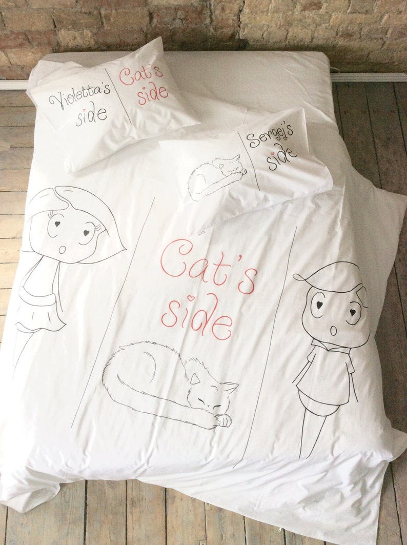 My Side Your Side Bedding Set Cotton Anniversary Gift For Etsy