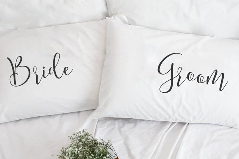 Wedding gift for Newlywed Couple Pillowcases cotton anniversary gift Bride and Groom Engagement gift 2nd Anniversary gift couple pillow case