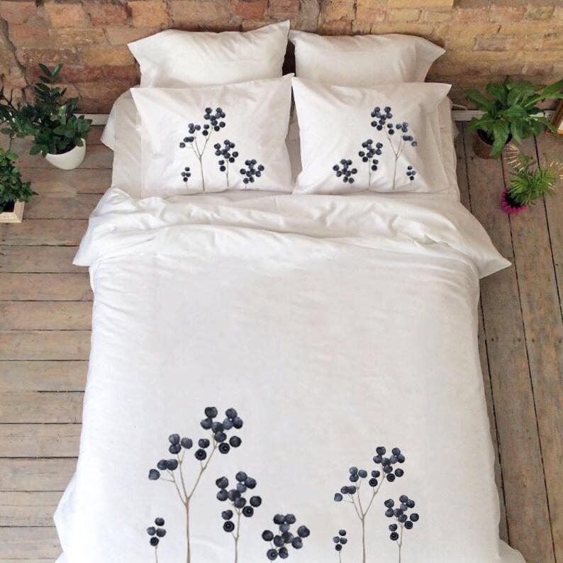Natur Bettwäsche Für Paare Berry Abbildung Personalisierte Etsy