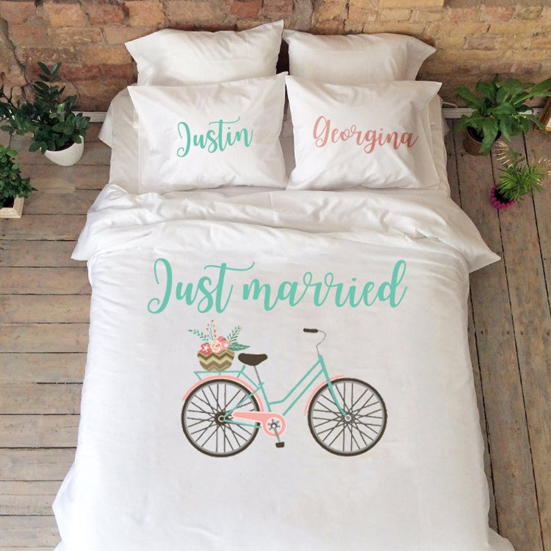 0acf3675d Just married gift Bedding set Personalized Wedding gift Cotton